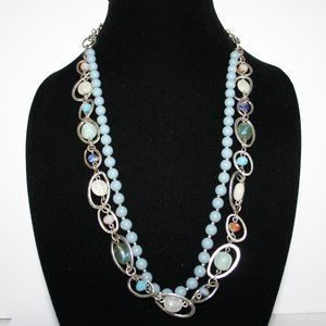 """Beautiful silver and blue layered necklace 34"""""""